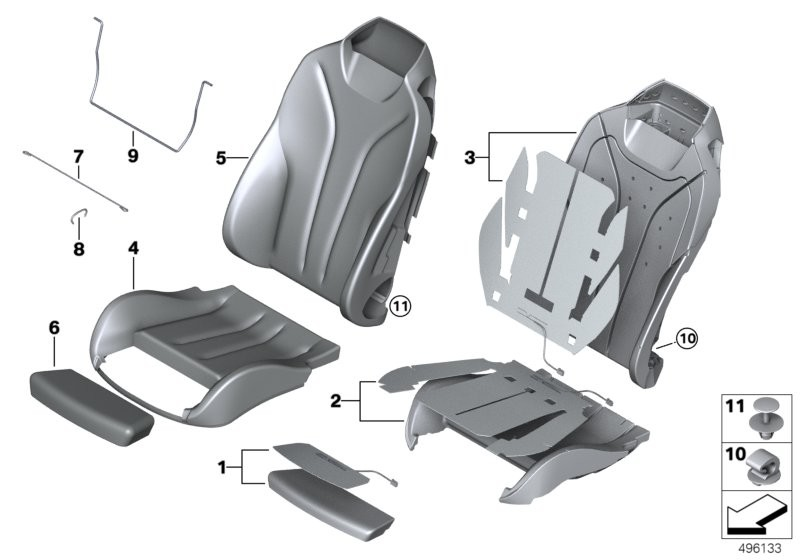 Seat, front, cushion &cover, sports seat