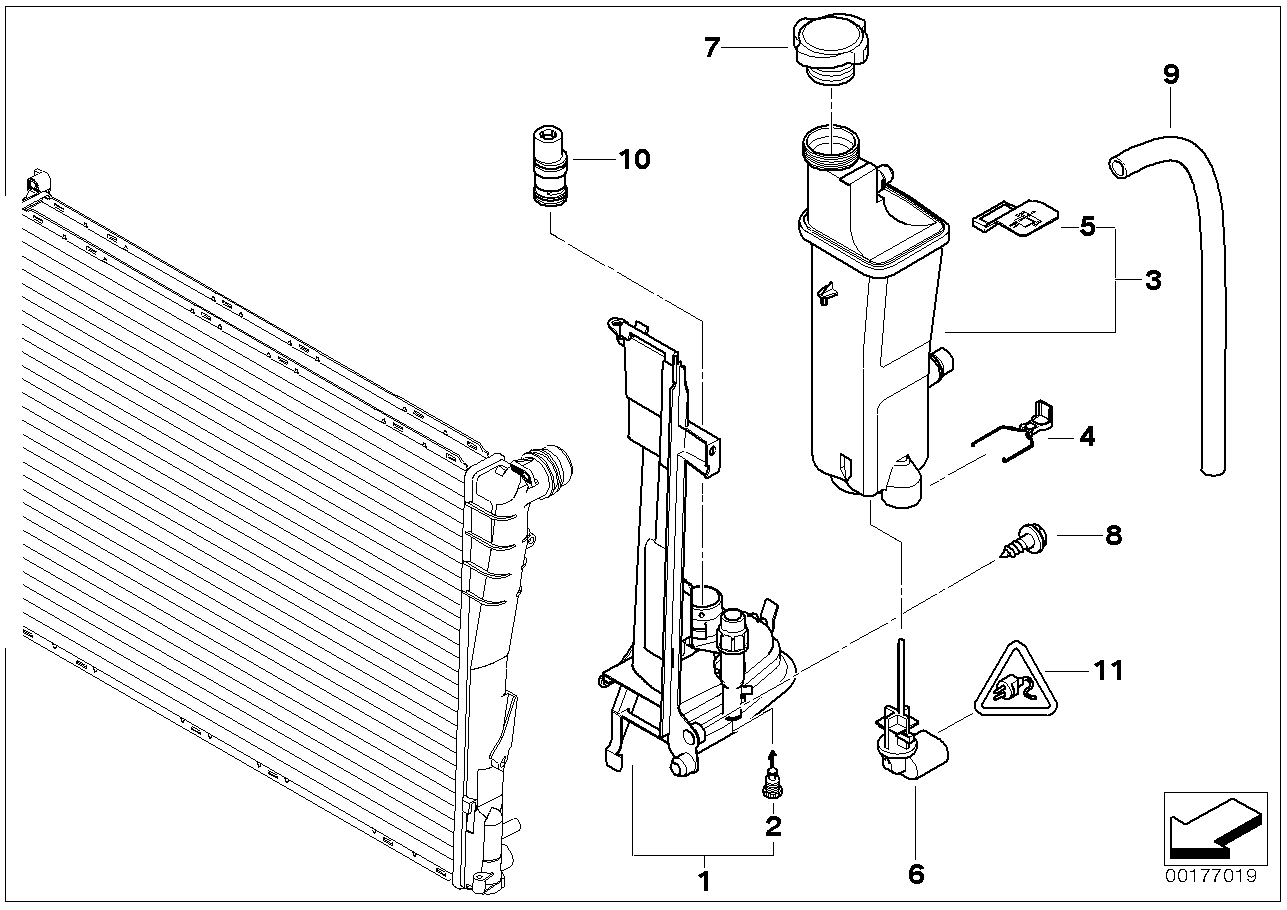 Compensatorreservoir / Montageplaat BMW E46 sedan 47635