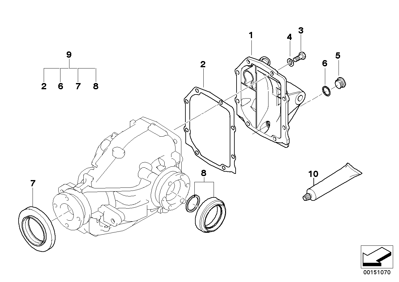Kit de juntas do diferencial traseiro BMW E46 sedan